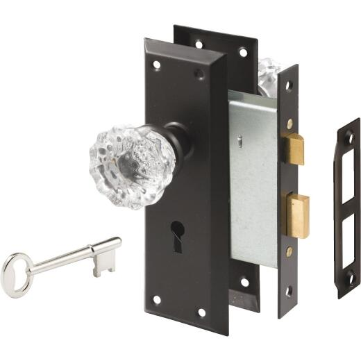 Defender Security Bronze Keyed Mortise Entry Lock Set With Glass Knob