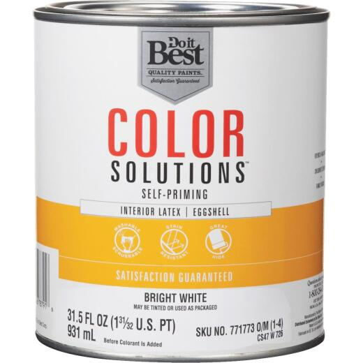 Do it Best Color Solutions Latex Self-Priming Eggshell Interior Wall Paint, Bright White, 1 Qt.