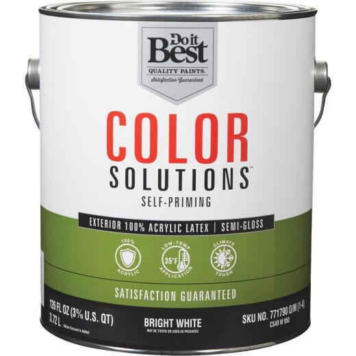Do it Best Color Solutions 100% Acrylic Latex Self-Priming Semi-Gloss Exterior House Paint, Bright White, 1 Gal.