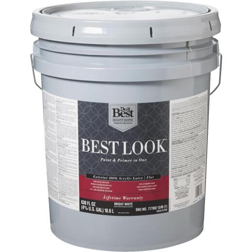 Best Look 100% Acrylic Latex Paint & Primer In One Flat Exterior House Paint, Bright White, 5 Gal.