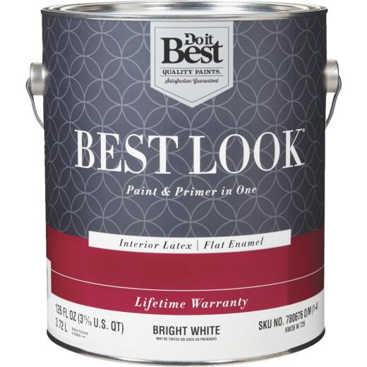 Best Look Latex Paint & Primer In One Flat Enamel Interior Wall Paint, Bright White, 1 Gal.