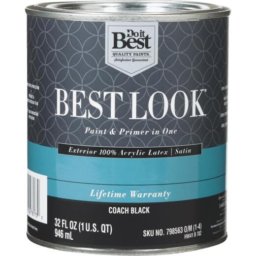 Best Look 100% Acrylic Latex Paint & Primer In One Satin Exterior House Paint, Coach Black, 1 Qt.